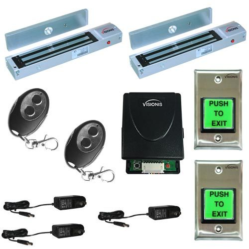 FPC-5014 Two Door Access Control Outswinging Door 600lbs Electromagnetic Lock Kit With Visionis Wireless Receiver And Remote Kit