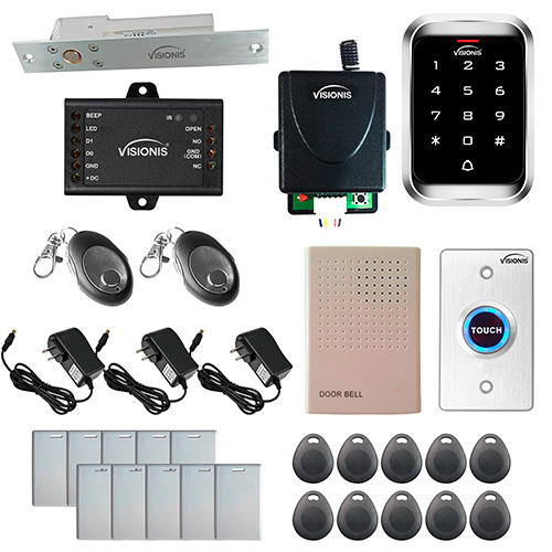 Visionis FPC-5470 One Door Access Control 1,700lbs Electric Drop Bolt with  Time Delay Fail Safe with VIS-3000 Outdoor Weatherproof Keypad/Reader