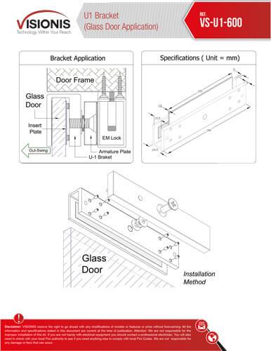 vs u1 600 3 bracket for 600lb electromagnetic lock for glass doors fpc 5225 indoor electromagnetic lock with 600lbs u bracket kit  at suagrazia.org