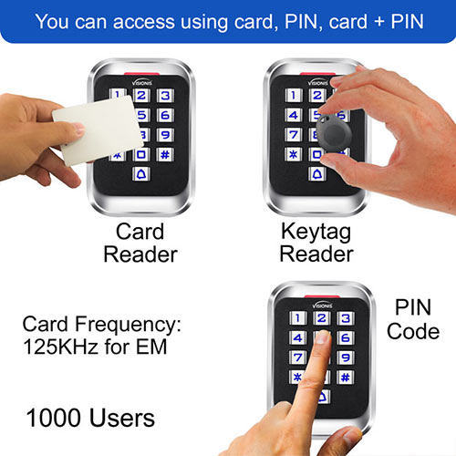 VIS-3004 Card reader, keypad, keyfob or keytag reader