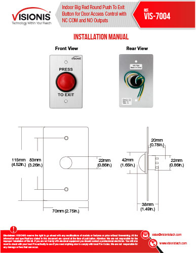 visionis vis 7004 small red round push exit button for door access rh fpc security com