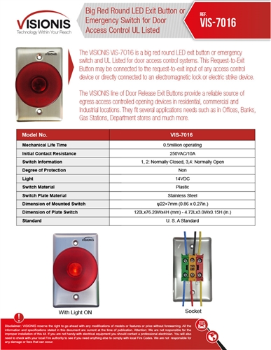 Visionis VIS-7016 Big Red Round Push to Exit Button or Emergency Switch for  Door Access Control UL Listed with LED Light, NO and NC Outputs