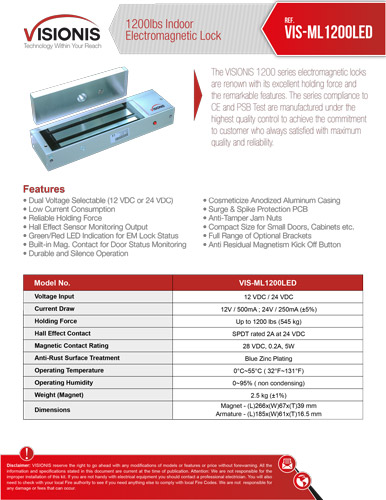 VIS-ML1200LED Datasheet