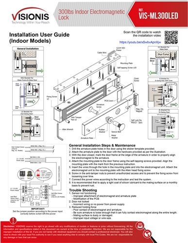 www.fpc security.com vis ml300led 6 300lb indoor electric magnetic lock buy vis ml300led 300lb indoor electric magnetic lock fpc magnetic lock wiring diagram at soozxer.org