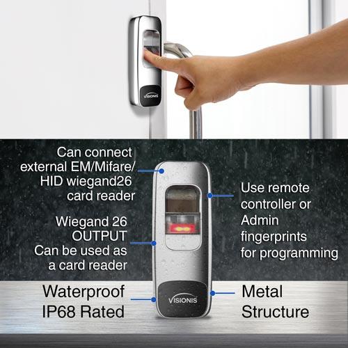 Visionis Access Control Standalone Biometric Fingerprint Reader and Wiegand Weatherproof Metal Housing 1,000 Users