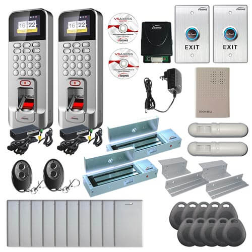 Visionis FPC-6918 Two Door Access Control Time Attendance In Swing Door 1200lbs Electronic Mag Lock with Silver WIFI and TCP / IP RS485 Wiegand Outdoor IP42 Biometric Fingerprint Reader with Computer Based Software Included EM TK4100 Card Compatible 3,000 Users with 2.4 Inch Screen Wireless Receiver and PIR Motion Detector Kit