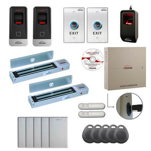 Visionis FPC-6928 Two Door Professional Access Control for Out Swing Door Electric 600lbs Time Attendance TCP / IP RS485 Wiegand Controller Box with Power Supply Included Black Outdoor Biometric Fingerprint Reader Computer Based Software Included EM TK4100 Card Compatible 100,000 Users with PIR Kit