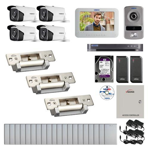 Visionis and Vezco FPC-6957 Professional Integration Security 4 Bullet Cameras DVR with 2TB HD Included, 2 door Access Control 10,000 user Electric Strike exit button and IP Video Intercom kit
