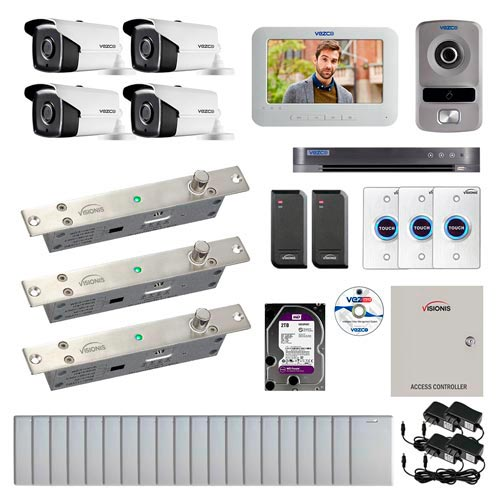 Visionis and Vezco FPC-6958 Professional Integration Security 4 Bullet Cameras DVR with 2TB HD Included, 2 door Access Control 10,000 user Electric Drop Bolt exit button and IP Video Intercom kit