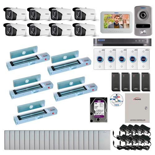 Visionis and Vezco FPC-6959 Professional Integration Security 8 Bullet Cameras DVR with 2TB HD Included, 4 door Access Control 10,000 user outswing 300lb maglock exit button and IP Video Intercom Kit