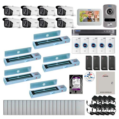 Visionis and Vezco FPC-6960 Professional Integration Security 8 Bullet Cameras DVR with 2TB HD Included, 4 door Access Control 10,000 user outswing 600lb Maglock Exit Button and IP Video Intercom Kit