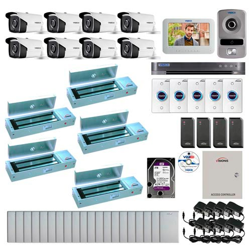 Visionis and Vezco FPC-6961 Professional Integration Security 8 Bullet Cameras DVR with 2TB HD Included, 4 door Access Control 10,000 user outswing 1200lb Maglock Exit Button and IP Video Intercom Kit