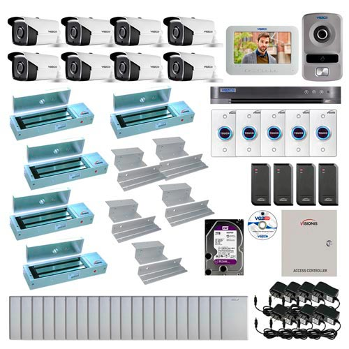Visionis and Vezco FPC-6964 Professional Integration Security 8 Bullet Cameras DVR with 2TB HD Included, 4 door Access Control 10,000 user Inswing 1200lb Maglock Exit Button and IP Video Intercom Kit