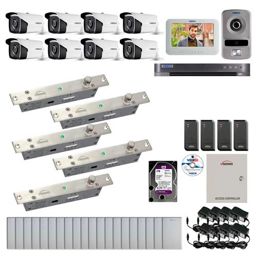 Visionis and Vezco FPC-6966 Professional Integration Security 8 Bullet Cameras DVR with 2TB HD Included, 4 door Access Control 10,000 user Electric Drop Bolt exit button and IP Video Intercom kit