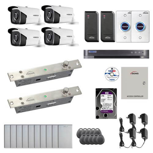 Visionis and Vezco FPC-6974 Professional Integration Security 4 Bullet Cameras DVR with 2TB HD Included, 2 door Access Control 10,000 user Electric Drop Bolt exit button kit