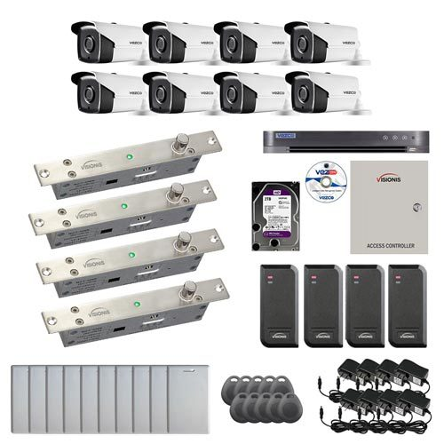 Visionis and Vezco FPC-6982 Professional Integration Security 8 Bullet Cameras DVR with 2TB HD Included, 4 door Access Control 10,000 user Electric Drop Bolt exit button kit