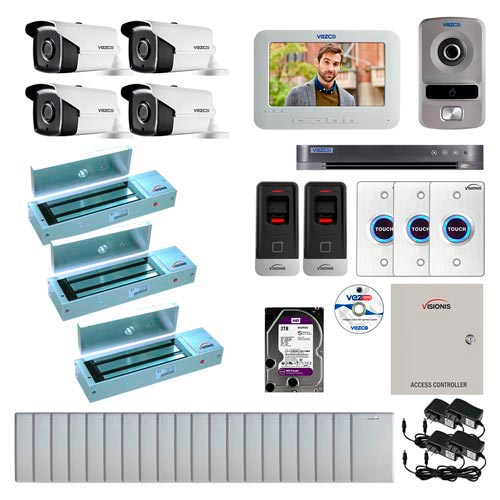 Visionis and Vezco FPC-6985 Professional Integration Security 4 Bullet Cameras DVR with 2TB HD Included, 2 Door Access Control with finger print Biometric reader outswing 1200lb Maglock Exit Button and IP Intercom Kit