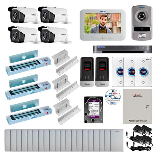 Visionis and Vezco FPC-6986 Professional Integration Security 4 Bullet Cameras DVR with 2TB HD Included, 2 Door Access Control with finger print Biometric reader Inswing 300lb Maglock Exit Button and IP Intercom Kit