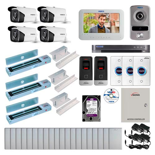 Visionis and Vezco FPC-6987 Professional Integration Security 4 Bullet Cameras DVR with 2TB HD Included, 2 Door Access Control with finger print Biometric reader Inswing 600lb Maglock Exit Button and IP Intercom Kit