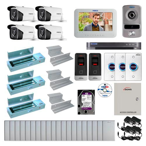 Visionis and Vezco FPC-6988 Professional Integration Security 4 Bullet Cameras DVR with 2TB HD Included, 2 Door Access Control with finger print Biometric reader Inswing 1200lb Maglock Exit Button and IP Intercom Kit