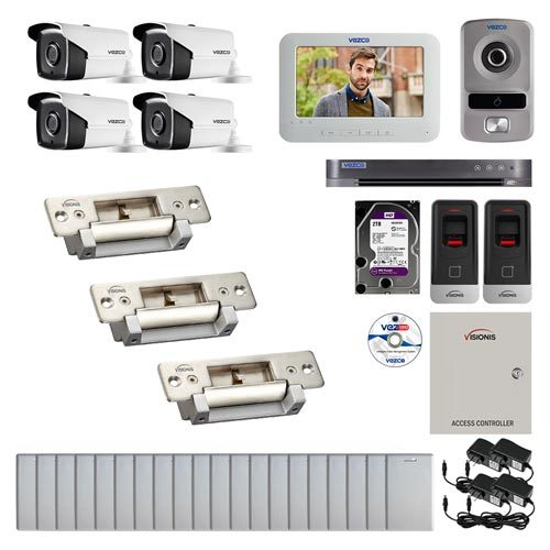 Visionis and Vezco FPC-6989 Professional Integration Security 4 Bullet Cameras DVR with 2TB HD Included, 2 door Access Control with finger print Biometric reader Electric Strike and IP Intercom kit