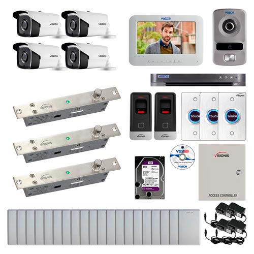 Visionis and Vezco FPC-6990 Professional Integration Security 4 Bullet Cameras DVR with 2TB HD Included, 2 door Access Control with finger print Biometric reader Electric Drop Bolt exit button and IP Intercom kit
