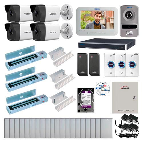 Visionis and Vezco FPC-6995 Professional Integration Security IP 4 Bullet Cameras DVR with 2TB HD Included, 2 Door Access Control with 10,000 users Inswing 600lb Maglock Exit Button and IP Intercom Kit