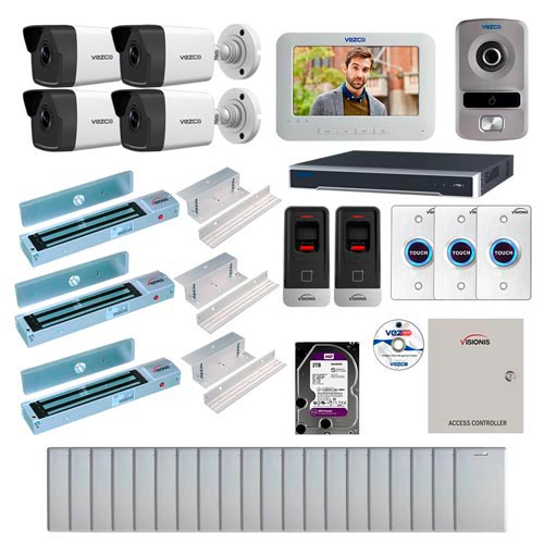 Visionis and Vezco FPC-7227 Professional Integration Security IP 4 Bullet Cameras DVR with 2TB HD Included, 2 Door Access Control with Fingerprint Biometric Reader Inswing 600lb Maglock with Exit Button Kit