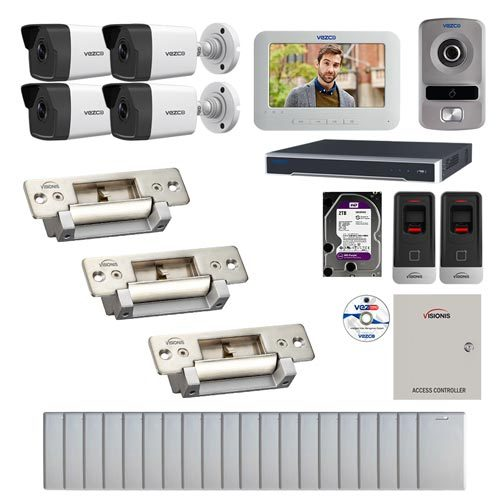 Visionis and Vezco FPC-7229 Professional Integration Security IP 4 Bullet Cameras DVR with 2TB HD Included, 2 door Access Control with Finger print Biometric Reader Electric Strike kit