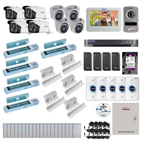 Visionis and Vezco FPC-7242 Professional Integration Security TVI 4 Bullet 4 Dome Cameras DVR with 2TB HD Included, 4 door Access Control with 10,000 users Inswing 300lb Maglock with Exit Button and IP Intercom Kit