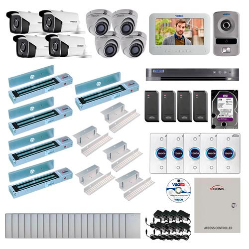 Visionis and Vezco FPC-7243 Professional Integration Security TVI 4 Bullet 4 Dome Cameras DVR with 2TB HD Included, 4 door Access Control with 10,000 users Inswing 600lb Maglock with Exit Button and IP Intercom Kit