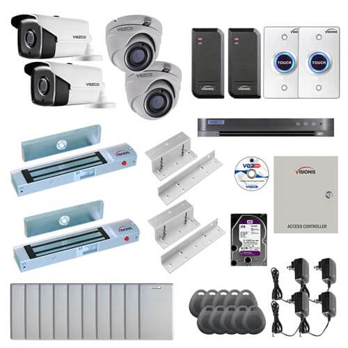 Visionis and Vezco FPC-7250 Professional Integration Security TVI 2 Bullet 2 Dome Cameras DVR with 2TB HD Included, 2 Door Access Control with 10,000 users Inswing 300lb Maglock with Exit Button Kit