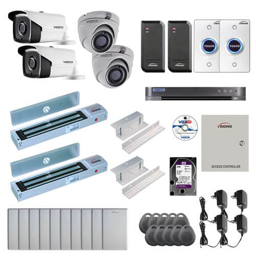 Visionis and Vezco FPC-7251 Professional Integration Security TVI 2 Bullet 2 Dome Cameras DVR with 2TB HD Included, 2 Door Access Control with 10,000 users Inswing 600lb Maglock with Exit Button Kit