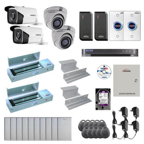Visionis and Vezco FPC-7252 Professional Integration Security TVI 2 Bullet 2 Dome Cameras DVR with 2TB HD Included, 2 Door Access Control with 10,000 users Inswing 1200lb Maglock with Exit Button Kit