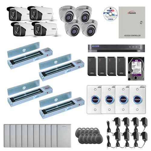 Visionis and Vezco FPC-7256 Professional Integration Security TVI 4 Bullet 4 Dome Cameras DVR with 2TB HD Included, 4 door Access Control with 10,000 users Outswing 600lb Maglock with Exit Button Kit