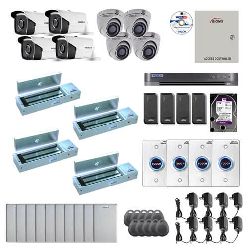 Visionis and Vezco FPC-7257 Professional Integration Security TVI 4 Bullet 4 Dome Cameras DVR with 2TB HD Included, 4 door Access Control with 10,000 users Outswing 1200lb Maglock with Exit Button Kit