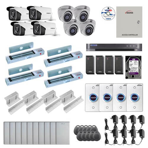 Visionis and Vezco FPC-7258 Professional Integration Security TVI 4 Bullet 4 Dome Cameras DVR with 2TB HD Included, 4 door Access Control with 10,000 users Inswing 300lb Maglock with Exit Button Kit
