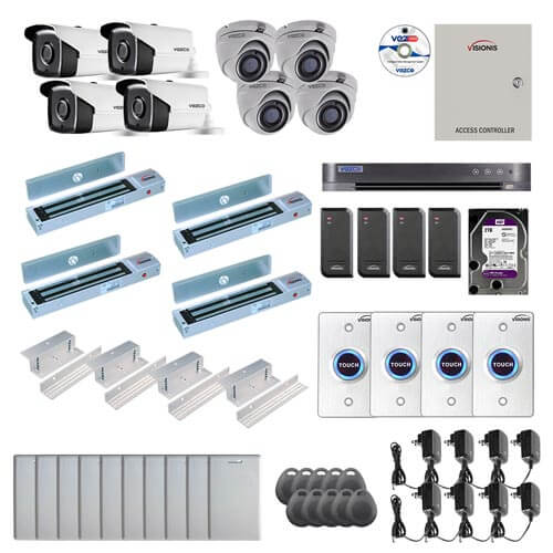 Visionis and Vezco FPC-7259 Professional Integration Security TVI 4 Bullet 4 Dome Cameras DVR with 2TB HD Included, 4 door Access Control with 10,000 users Inswing 600lb Maglock with Exit Button Kit