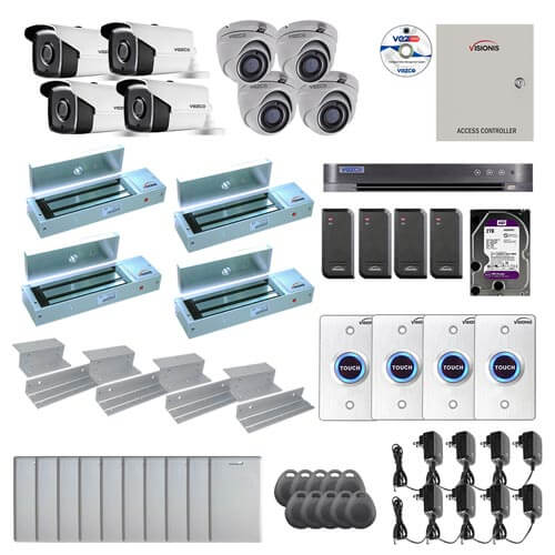 Visionis and Vezco FPC-7260 Professional Integration Security TVI 4 Bullet 4 Dome Cameras DVR with 2TB HD Included, 4 door Access Control with 10,000 users Inswing 1200lb Maglock with Exit Button Kit