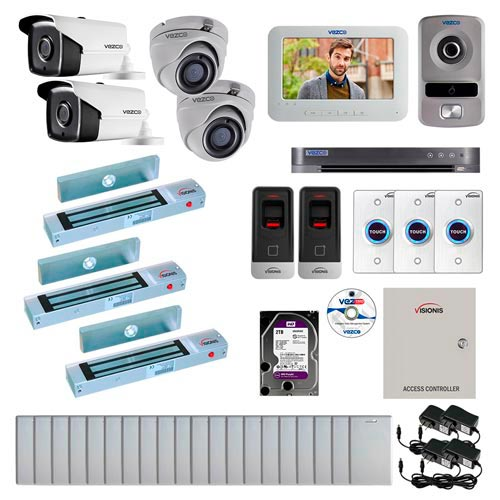 Visionis and Vezco FPC-7263 Professional Integration Security TVI 2 Bullet and 2 Dome Cameras DVR with 2TB HD Included, 2 Door Access Control with Fingerprint Biometric Reader Outswing 300lb Maglock with Exit Button Kit