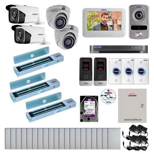 Visionis and Vezco FPC-7264 Professional Integration Security TVI 2 Bullet and 2 Dome Cameras DVR with 2TB HD Included, 2 Door Access Control with Fingerprint Biometric Reader Outswing 600lb Maglock with Exit Button Kit
