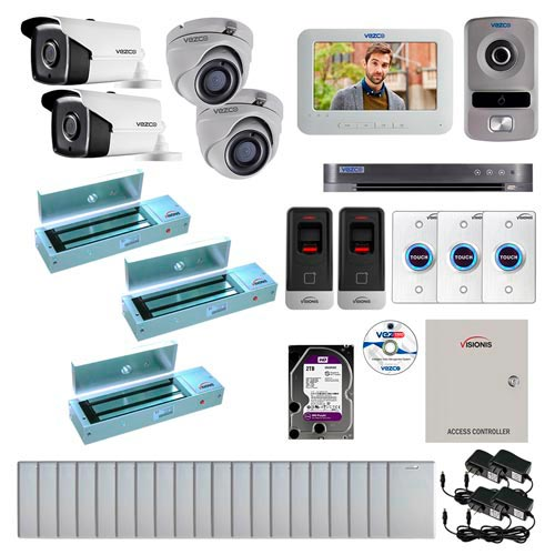 Visionis and Vezco FPC-7265 Professional Integration Security TVI 2 Bullet and 2 Dome Cameras DVR with 2TB HD Included, 2 Door Access Control with Fingerprint Biometric Reader Outswing 1200lb Maglock with Exit Button Kit