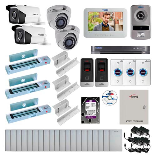 Visionis and Vezco FPC-7266 Professional Integration Security TVI 2 Bullet and 2 Dome Cameras DVR with 2TB HD Included, 2 Door Access Control with Fingerprint Biometric Reader Inswing 300lb Maglock with Exit Button Kit