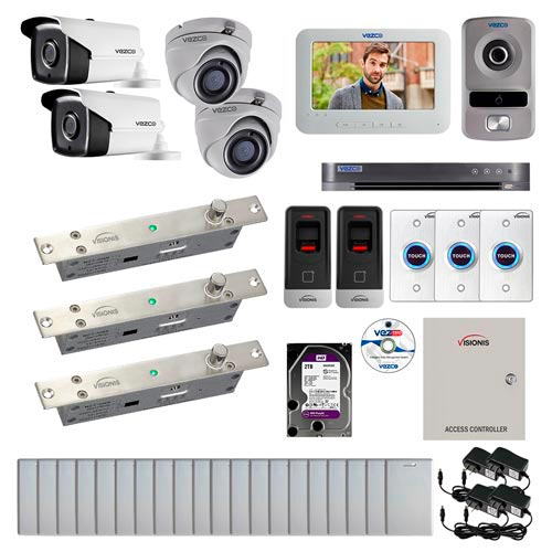 Visionis and Vezco FPC-7270 Professional Integration Security TVI 2 Bullet and 2 Dome Cameras DVR with 2TB HD Included, 2 Door Access Control with Fingerprint Biometric Reader Electric Drop Bolt Kit