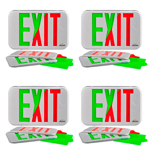 Visionis FPC-7367 VIS-ESG 4 Pack 6 Inch Green Exit Sign Light LED + Double Sided + 90 Minute Battery Backup + UL924 Listed