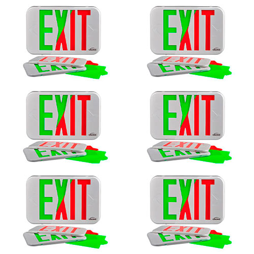 Visionis FPC-7368 VIS-ESG 6 Pack 6 Inch Green Exit Sign Light LED + Double Sided + 90 Minute Battery Backup + UL924 Listed