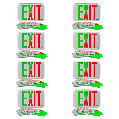Visionis FPC-7369 VIS-ESG 8 Pack 6 Inch Green Exit Sign Light LED + Double Sided + 90 Minute Battery Backup + UL924 Listed