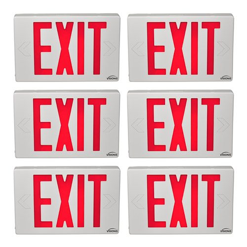 Visionis FPC-7373 VIS-ESR 6 Pack 6 Inch Red Exit Sign Light LED + Double Sided + 90 Minute Battery Backup + UL924 Listed