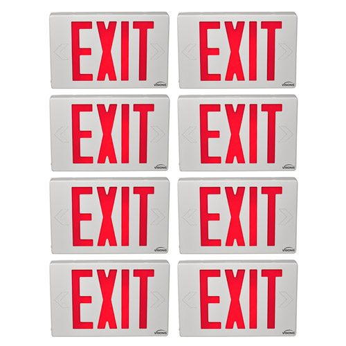 Visionis FPC-7374 VIS-ESR 8 Pack 6 Inch Red Exit Sign Light LED + Double Sided + 90 Minute Battery Backup + UL924 Listed