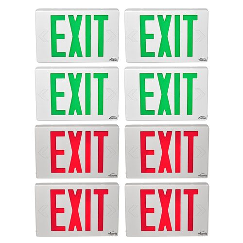 Visionis 8 Pack FPC-7377-B VIS-ESG 4 Green and VIS-ESR 4 Red 6 Inch Exit Sign Light LED + Double Sided + 90 Minute Battery Backup + UL924 Listed